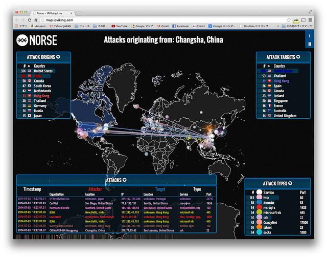 サイバー攻撃がリアルタイムでわかるマップ