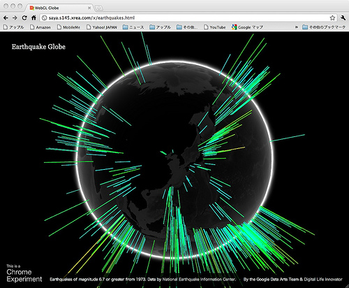 Earthquake Globe powered by WebGL Globe 作ってみました