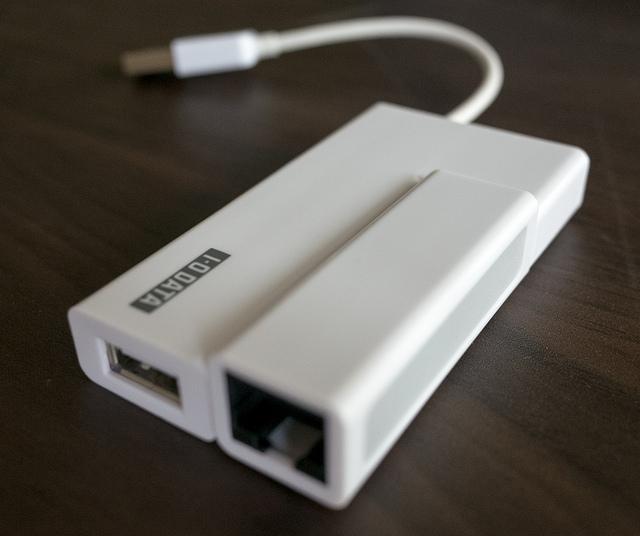 I-O DATA US2-HB4ETX UltrabookにもMacBook Airにも 旅行のお供に便利な有線LAN&USBハブ