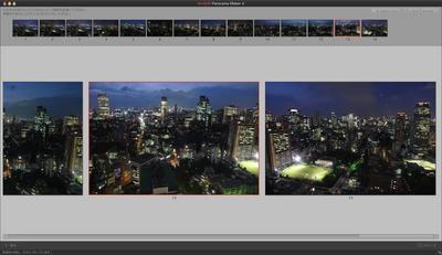 東京の夜景のパノラマ写真を作成