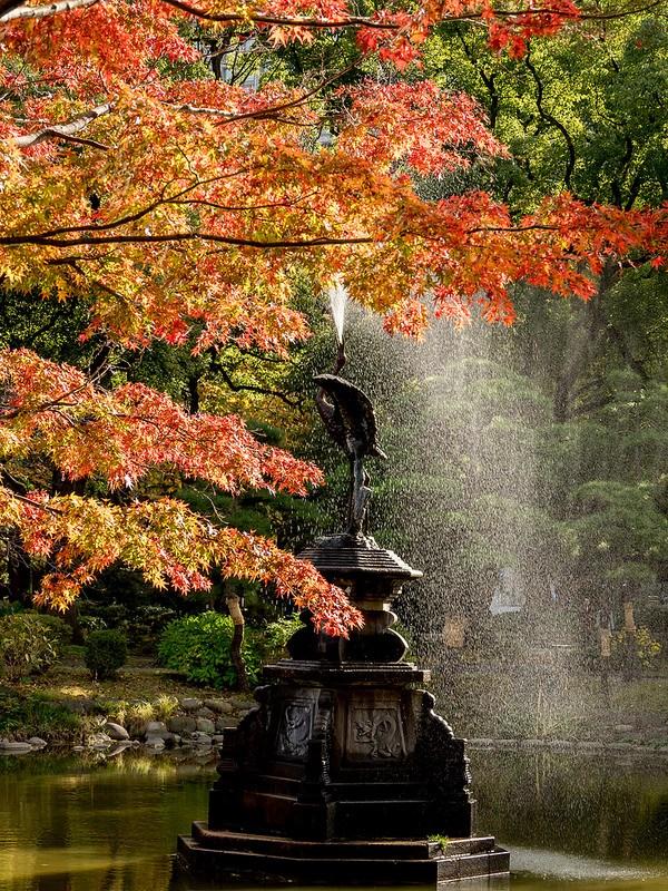 日比谷公園雲形池の紅葉と鶴の噴水