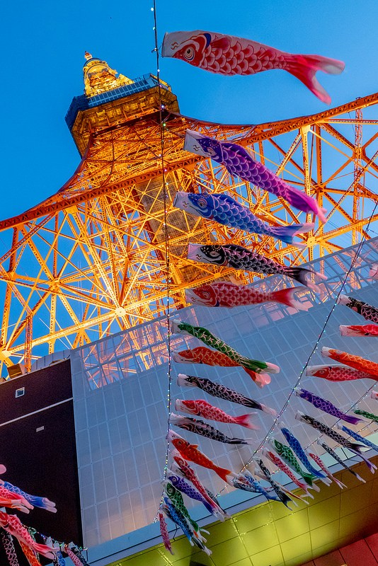 東京タワーと鯉のぼりのライトアップ