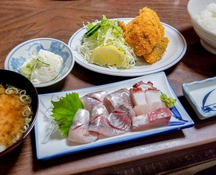 黄金鯵のアジフライと鯵刺 千葉県浜金谷 さすけ食堂 #こぶツアー