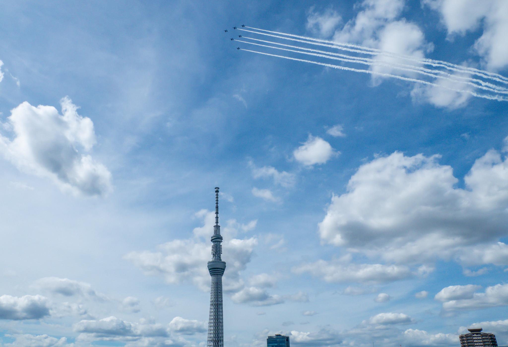 #TOKYO2020 パラリンピック ブルーインパルス展示飛行予行とスカイツリー特別ライティングとNHKアニパラ